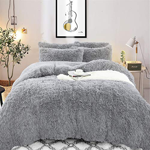 Noahas Shaggy Duvet Cover Set Ultra Soft Fluffy Comforter Bed Sets, 4 Pieces Furry Velvet Bedding Set with 2 Pillowcases…