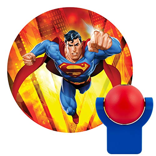 Superman Night Light - Projectables 10559 Superman LED Plug-in Night Light, Red and Blue, Collector's Edition, Light Sensing, Auto On/Off, Projects DC Comics Man of Steel Image on Ceiling, Wall, or Floor