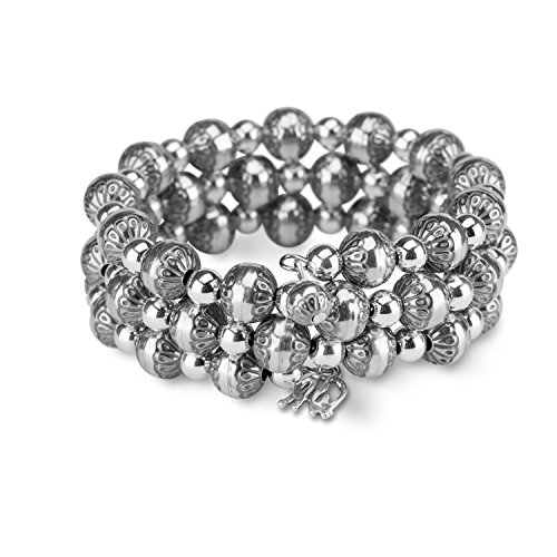 American West Sterling Silver Stamped Polished Beaded Bracelet by American West