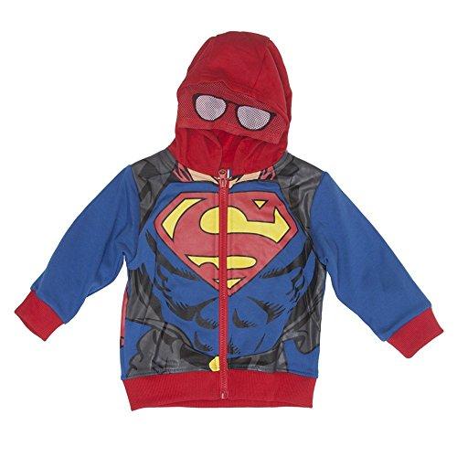 [Superman Toddler Boy's Blue/Red Spiderman Suit Masked Full Zip Hoodie - 2T] (Blue Spiderman Suit)