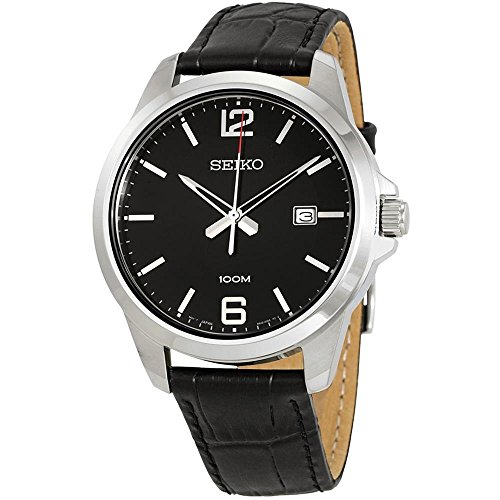 Seiko-Mens-42mm-Black-Leather-Band-Steel-Case-Hardlex-Crystal-Quartz-Analog-Watch-SUR251