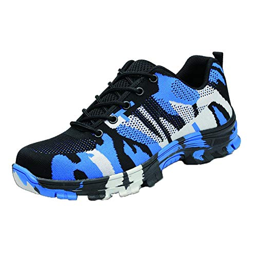 Niome Steel Toe Shoes Indestructible Puncture-Proof Protection with Lace-up Camouflage for Welding Insulation Construction Work Men Women Blue & 35 by Niome (Image #1)