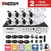TMEZON AHD 8CH 1080P DVR Security System and 8x 2.0MP AHD IR In/Outdoor Bullet Cameras Free App NO HDD