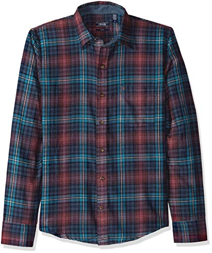 IZOD Men's Slim Fit Flannel Button Down Long Sleeve Soft Touch Shirt, Midnight, - Thermal Poly Midweight