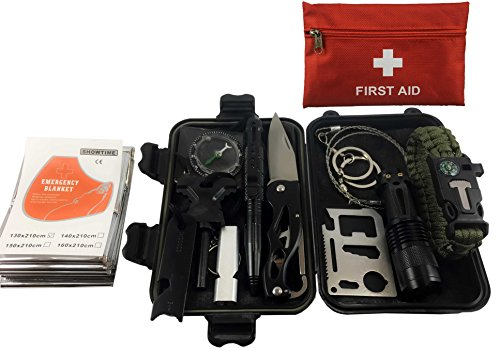 Perfect Kit (90 Piece Emergency Kit : 12 in 1 Survival Tool Kit; 78 in 1 Piece First Aid Kit perfect for Outdoor Adventures, Hiking, Camping, Boating, Trips,ect.)