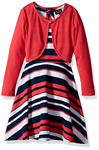 (Lilt Girls' Little Sleeveless Printed Textured Knit Dress with Cardigan, Coral/Navy, XS(4/5))