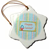 3dRose Beverly Turner Easter Design and Photography - Painted Egg in Cup with Paint Brush, Happy Easter, Pastel Stripes - 3 inch Snowflake Porcelain Ornament (orn_276163_1)