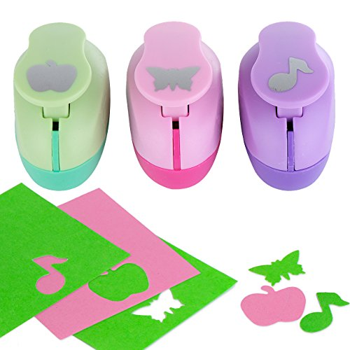 Paper Punch Hole Puncher -- (3 PACK Apple Butterfly Musical Note) -- Personalized Paper Craft Punchers Shapes Set -- For Scrapbook Engraving Kids Artwork -- Greeting Card Making DIY Crafts by YazyCraft