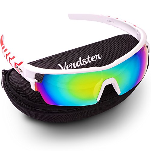Verdster TourDePro Sunglasses for Men and Women - Sporty Ski Shades - UV Protection Shades - Pack of Accessories - Great for Ski, Snowboard, Riding, Biking, Driving, Running, Cycling