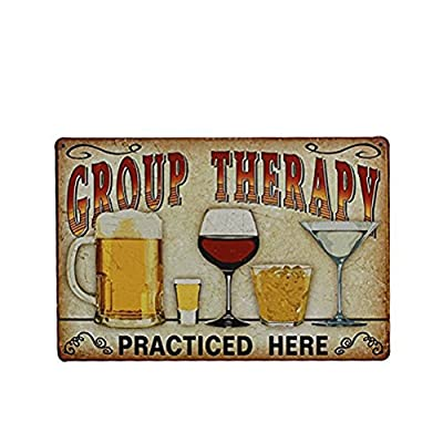 ROSENICE Vintage Metal Tin Group Therapy Practiced Here Wall Sign for Cafe Bar Pub Beer