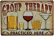 NUOLUX Pôster placa para Cafe Bar Pub Beer Wall Decor Art Tin Sign Group Therapy Practiced Here Vintage Metal