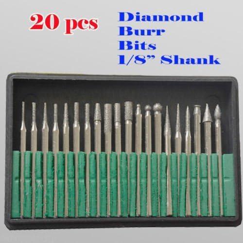 MTP Tm 20 piezas de brocas de diamante de metal para Dremel Craftsman herramienta rotativa 1/8