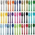 24 Plastic Cutlery Birthday Wedding Solid Colours Tableware Party Supplies plastic spoons and forks set