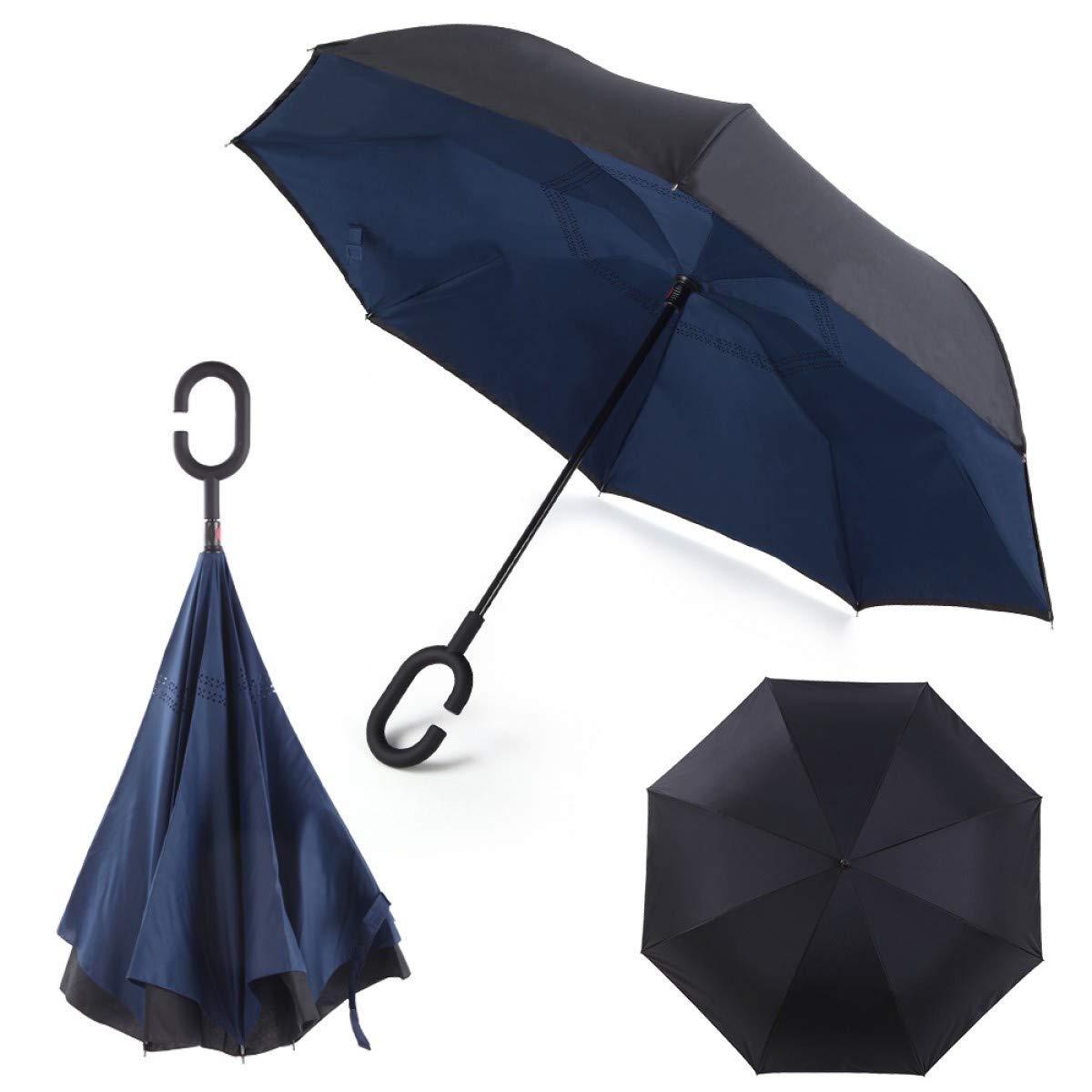 Paraguas invertido, inverso, Doble Capa aguanta de pie. Innovador se pliega al reves. Resistente, Mango Doble C, Funda. A Prueba de Viento. Azul Negro. Impermeable, Creativo para Coche. Regalo Ideal