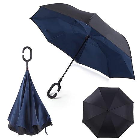 Paraguas invertido Plegable ADVERS Inverso Reverso Doble Capa Innovador Compacto Mango Forma C Resistente Tira Funda