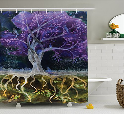 Tree of Life Decor Shower Curtain Set by Ambesonne, Psychedelic Magical Mysterious Tree at Night with Birds and Fishes and Birds Life Home, Bathroom Accessories, 84 Inches Extralong, Multi