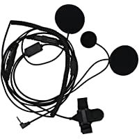 Tenq Full Face Moto Motorcycle Bike Helmet Earpiece Headset Mic Microphone for 1-pin Motorola Talkabout Cobra Radio