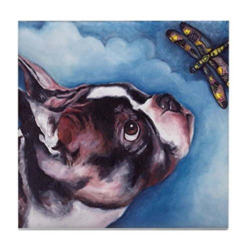 Tile Dragonfly Coaster - CafePress - Boston Terrier and Dragonfly - Tile Coaster, Drink Coaster, Small Trivet
