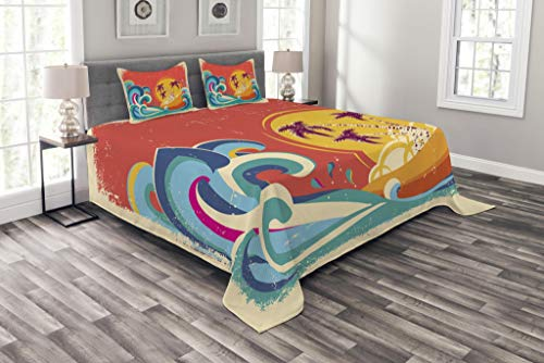 - Lunarable Vintage Hawaii Bedspread Set Queen Size, Vintage Old Paper Style Tropical Island with Giant Waves Retro Background, Decorative Quilted 3 Piece Coverlet Set with 2 Pillow Shams, Multicolor