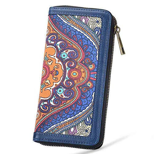 Women's Long Clutch Wallet Purse Credit Card Wallets to Organize Your Cash,Bank Card and Phone with Removable Wristlet Strap