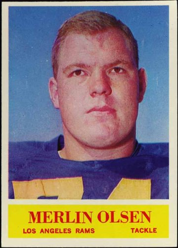- Merlin Olsen (Rookie Card) Los Angeles Rams 1964 NFL Football Trading Card (Philadelphia Chewing Gum) (#91)
