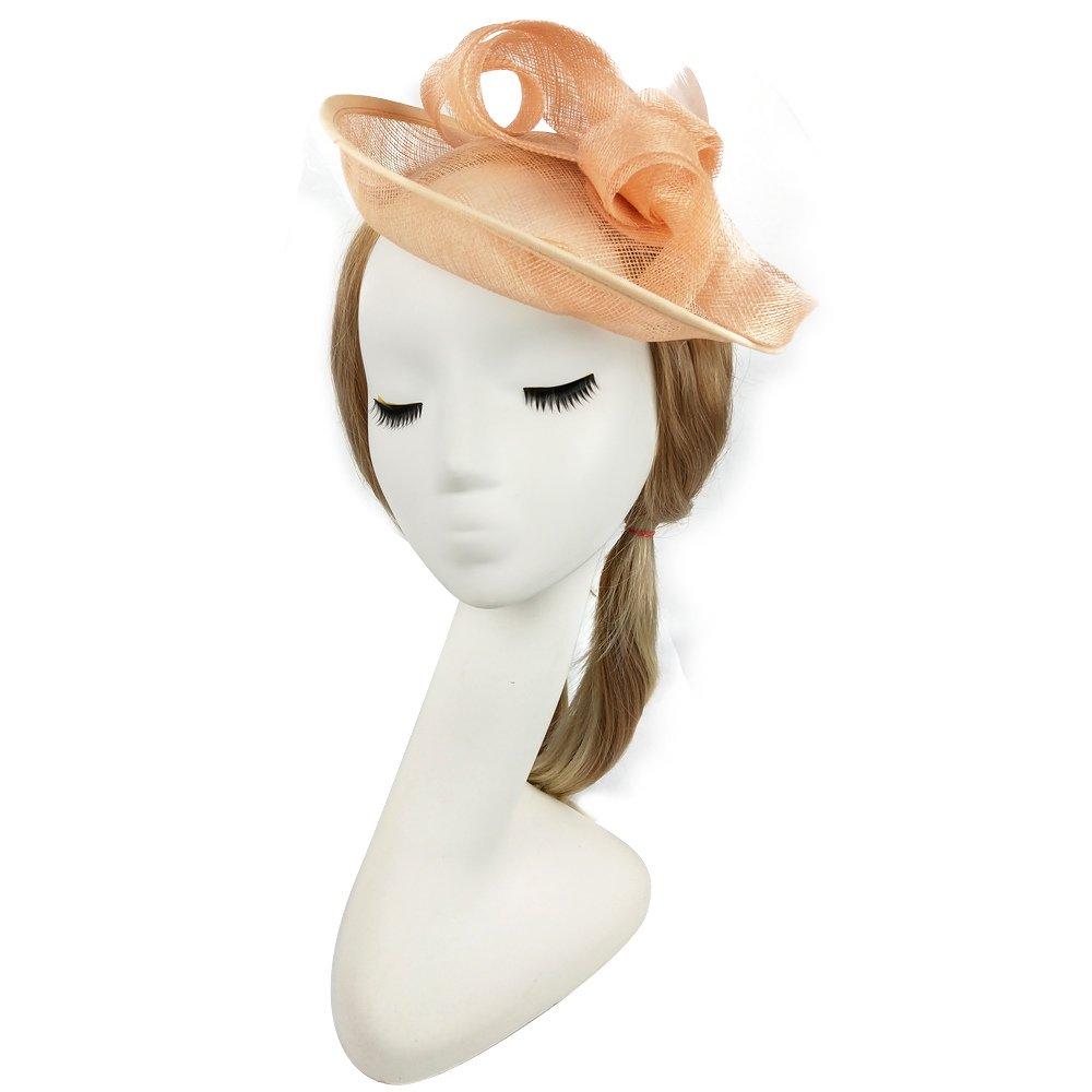 VKFashion Light Orange Color Fascinator Hats Elegant British Style For Wedding, Party,Derby Race, Church