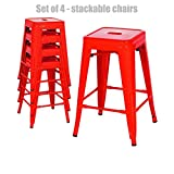 Retro Classic Style School Office Kitchen Dining Room Chair Stackable Backless Metal Frame Stable Seats Indoor/Outdoor Bar Stools - Set of 4 - Red #1048