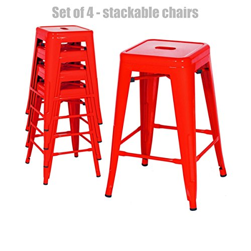 Retro Classic Style School Office Kitchen Dining Room Chair Stackable Backless Metal Frame Stable Seats Indoor/Outdoor Bar Stools - Set of 4 - Red #1048 (Commercial Furniture Melbourne Outdoor)