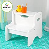 KidKraft Two Step Child Stool Stepping Stool For Toddlers (White)