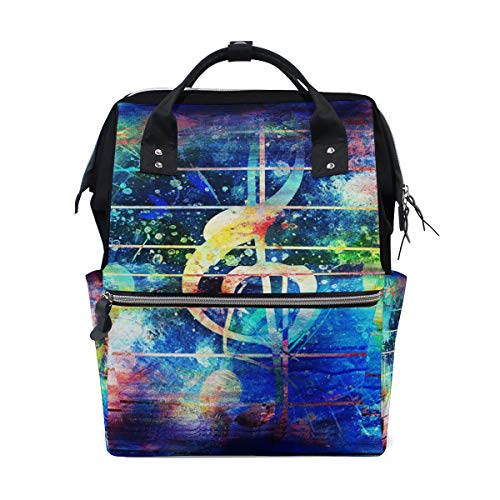 Abstract Colorful Music Notes Violin Clef School Backpack Large Capacity Mummy Bags Laptop Handbag Casual Travel Rucksack Satchel For Women Men Adult Teen Children]()