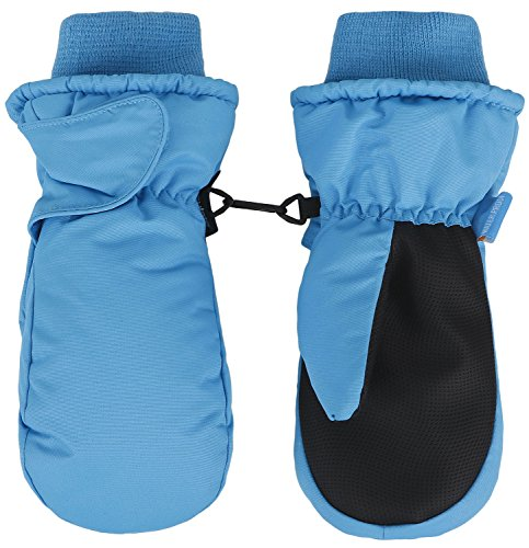 Lined Windproof Gloves (Jasmine Children's Thinsulate Lined Mitten Gloves Windproof Gloves,Blue,S)