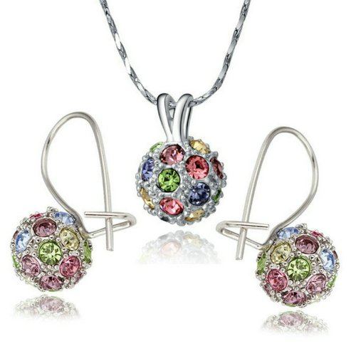 Amazon Lightning Deal 87% claimed: Yoursfs Gold Plated Colorful Crystal Lucky Ball Necklace and Earring Sets