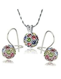 Yoursfs Gold Plated Colorful Crystal Lucky Ball Necklace and Earring Sets for Best Gift