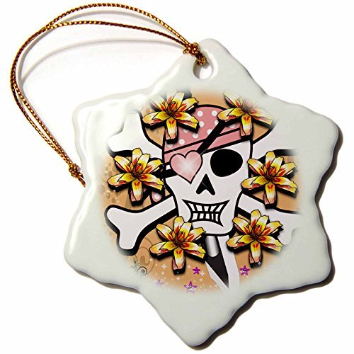 Christmas Ornament Sven Herkenrath Skull - Woman Skull in Pink and Purple Style Halloween Horror - Snowflake Porcelain Ornament