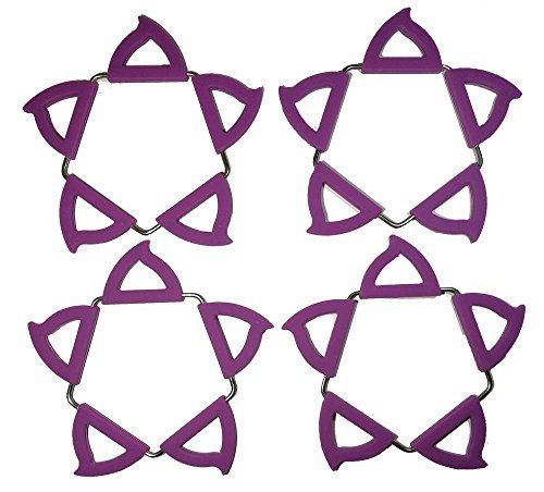 4 Pack Transformable Water Proof Trivet Mat Set- Creative Silicon Stainless Steel Insulation Desk Cup Mat - Expandable Multi Color Hot Pot Holder Pads (Purple )