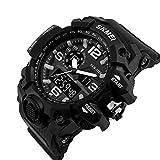 Waterproof Casual Back Light 164FT 50M Water Dual Display Men's Digital Sports Wrist Watch black