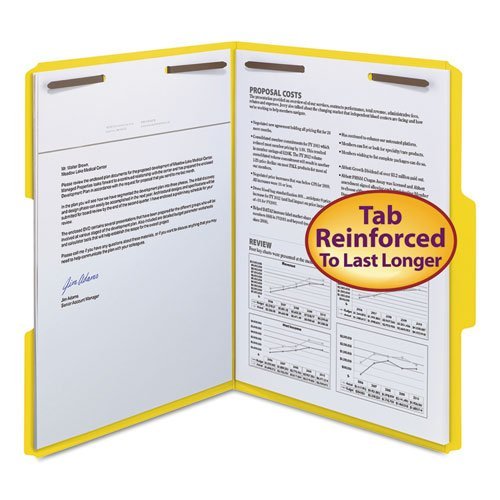 Smead Water - Smead Watershed/CutLess Folder, Top Tab, 2 Fasteners, 3/4 inch Exp, Letter, Yellow, 50/BX