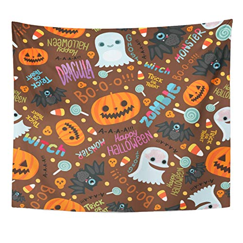 Emvency Tapestry Artwork Wall Hanging Orange Candy Happy Halloween Cute Corn Zombie Abstract Autumn Bat Brain Cartoon 50x60 Inches Tapestries Mattress Tablecloth Curtain Home Decor Print]()