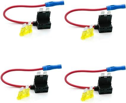 Qiorange 4 Tlg Autosicherungen Stromdieb Stromabgreifer Stecksicherung Steck Sicherung Verteiler Anschlußkabel 5a 10a 15a 20a Auto