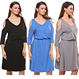 Product review for Kancystore Women V-Neck 3/4 Sleeve Off Shoulder Elastic Waist Casual Dress