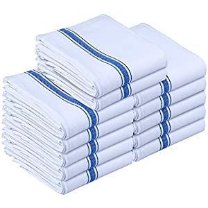 Kitchen Towels - Dish Cloth (12 Pack) - Machine Washable Cotton White Kitchen Dishcloths, Dish Towel & Tea Towels (15 x 25 Inch) - by Utopia Towels
