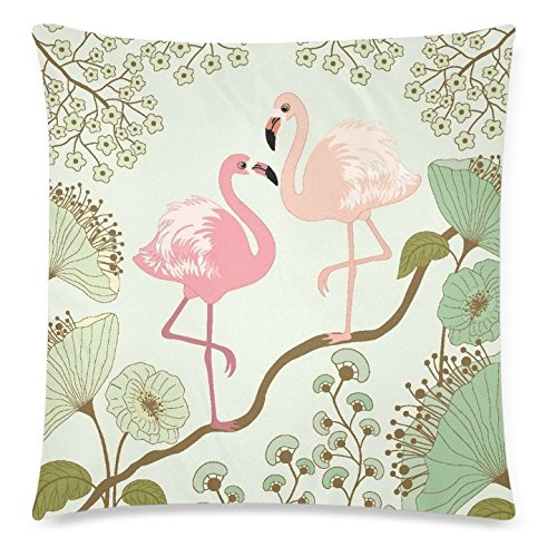 Beautiful Pink Lilies (InterestPrint Home Decor Vintage Pink Flamingos , Beautiful Lotus Flower Pillowcase 18 x 18 Inches - Water Lily Soft Pillow Cover Case Shams)