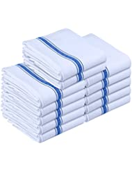 Utopia Towels Kitchen Towels - Dish Cloth (12 Pack) - Machine Washable Cotton White Kitchen Dishcloths, Dish Towel & Tea Towels (15 x 25 Inch) (Blue)