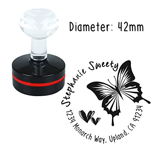 Personalized Custom Stamp Round Butterfly Sweet Heart Love Design Self Inking Flash Rubber Return Address Stamp Seal Maker for Mail Signature Wedding Company Logo Brand Housewarming -