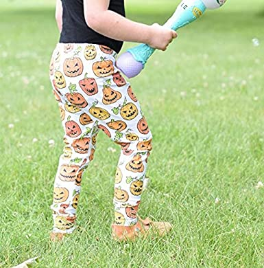 Toddler Baby Girls Halloween Leggings Pumpkin and Ghost Pattern Stretch Pants