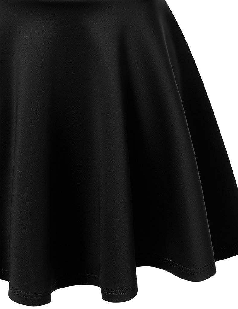 Pretty Fashion Womens Skater Skirt Basic A-Line Stretchy Flared Mini Skater Skirt Multiple Colours Plus Size 8-22