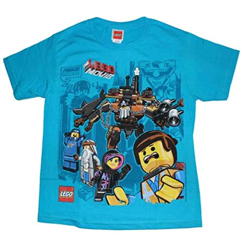 Lego Movie Baddies in Back Youth Tourquoise T-Shirt, Medium (Legos Movie For Boys)