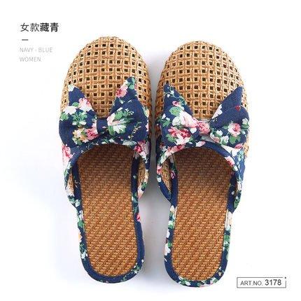 fankou Zapatillas Frescas Transpirables Verano Femenino Granja-Estancia Zapatillas Interiores Bow Tie, 38, Azul Oscuro