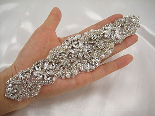 Embellished Sash (7.6 inch Crystal and Pearl Applique Trims Rhinestone Wedding Belt Bridal Embellished Sashes Beading Stones Appliques)