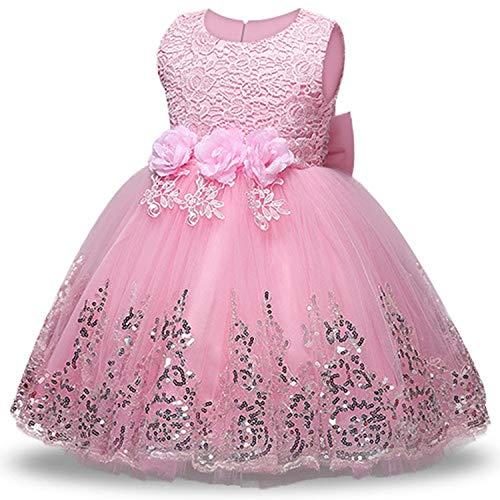 Balalei Summer Dress for Children Flower Girls Dress Party Wedding Dress Elegant Princess Vestidos,Pink,10